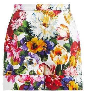 Dolce & Gabbana Floral Print High Waisted Cotton Shorts - Womens - White Multi