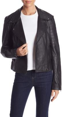 Romeo & Juliet Couture Asymmetrical Front Zip Sheep Leather Jacket