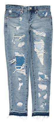 Blank NYC Distressed Mid-Rise Straight-Leg Jeans