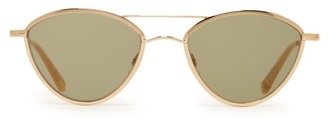 Garrett Leight Breeze 51 Round Metal Sunglasses - Womens - Green