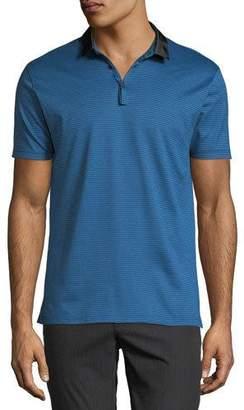 Lanvin Men's Striped Polo Shirt w/ Grosgrain Trim
