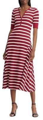 Lauren Ralph Lauren Waffle-Knit Striped Cotton Midi Dress