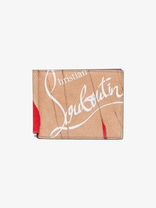 Christian Louboutin nude, white and red panettone leather wallet