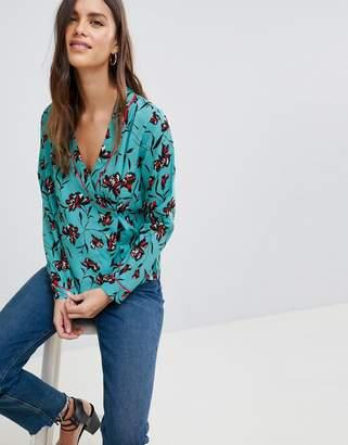Vila Floral Printed Wrap Shirt
