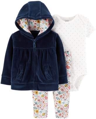 Carter's Baby Girl Velour Hoodie, Polka-Dot Bodysuit & Floral Leggings Set