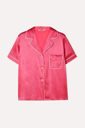 Morgan Lane - Katelyn Piped Silk-blend Charmeuse Pajama Shirt - Pink