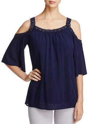 Design History Cold Shoulder Crochet Trim Top $78 thestylecure.com