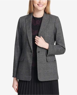 Calvin Klein One-Button Plaid Blazer