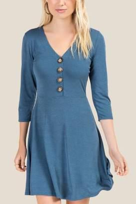 francesca's Desiree Button Front Knit Dress - Dark Teal