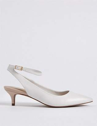 Marks and Spencer Leather Kitten Heel Buckle Court Shoes