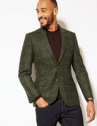 Marks and Spencer Pure Wool Tailored Fit Checked Jacket