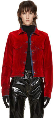 MM6 MAISON MARGIELA Red Denim Flocked Jacket