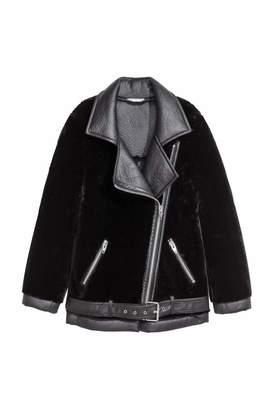 H&M Oversized Biker Jacket - Black/faux fur - Women