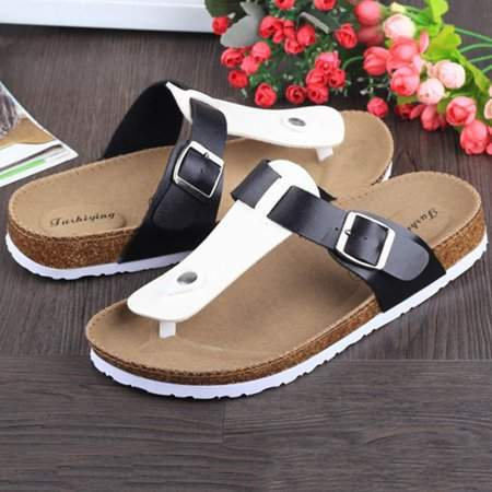 Sunrain Women Buckle T Strap Sandal Footbed Sandals Flat Platform Flip Flops Shoes