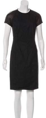 Ralph Lauren Black Label Leather-Accented Denim Dress