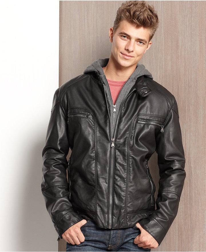 Calvin Klein Jacket, Faux-Leather Hooded Jacket