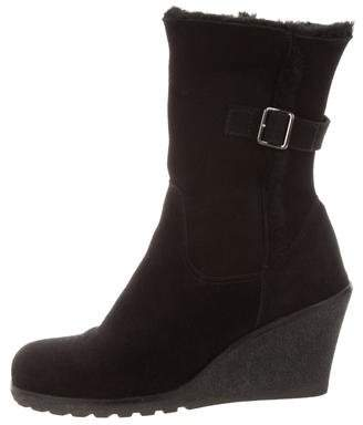 La Canadienne Suede Wedge Ankle Boots