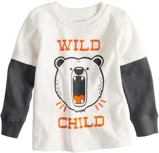 Toddler Boy Jumping Beans Slubbed Mock Layer Thermal Graphic Tee
