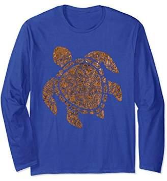 Sea Turtle Mandala Bronze Pattern Boho Turtles Long Sleeve