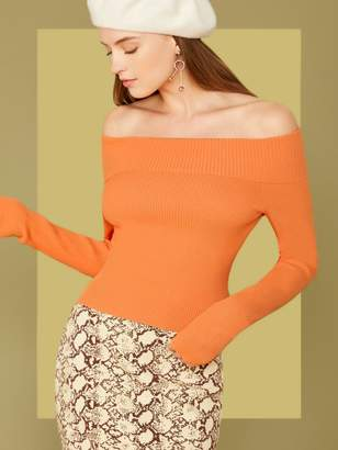 Shein Off Shoulder Foldover Sweater