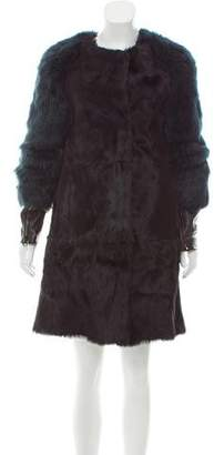 3.1 Phillip Lim Leather-Trimmed Shearling Coat
