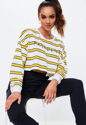 Missguided Yellow Stripe Pasadena Oversized Cropped T Shirt