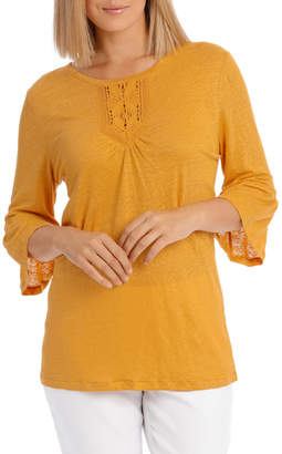 Regatta 3/4 Sleeve Linen Blend Flute Sleeve Detail Tee