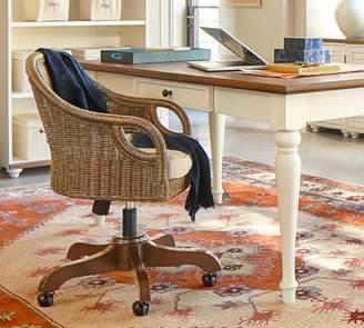 Pottery Barn Wingate Rattan Swivel Desk Chair