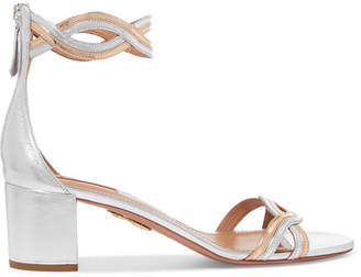 Aquazzura Moon Ray Cutout Metallic Leather Sandals - Silver