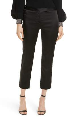 Milly Stretch Satin Crop Cigarette Pants