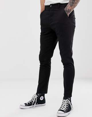 Asos Design DESIGN high waisted skinny chinos in black