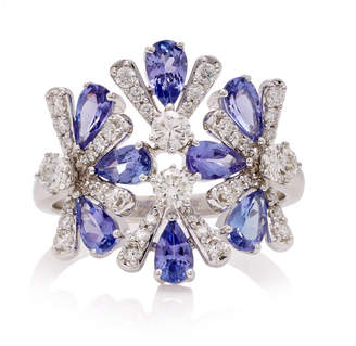 Hueb Exclusive 18K White Gold Tanzanite And Diamond Ring