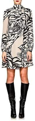 Valentino Women's Tiger-Print Silk Tieneck Dress
