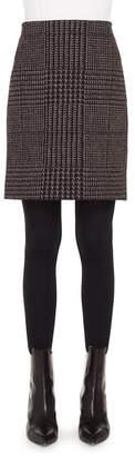 Akris Punto Metallic Houndstooth Jacquard Miniskirt