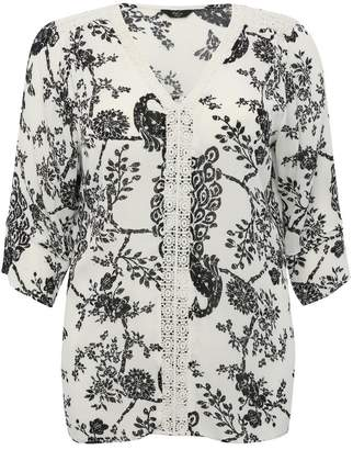 9165d05480 M&Co Plus floral peacock print blouse