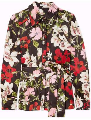 Erdem Xen Floral-print Silk-satin Blouse - Black