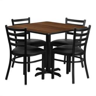 Flash Furniture 36'' Square Walnut Laminate Table Set with 4 Ladder Back Metal Chairs, Black Vinyl Seat Black, Walnut