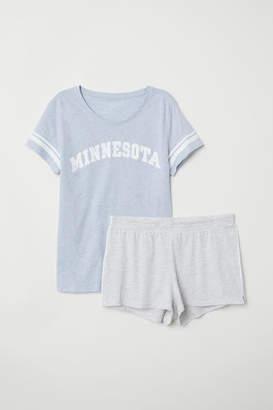 H&M Pajama Top and Shorts - Blue