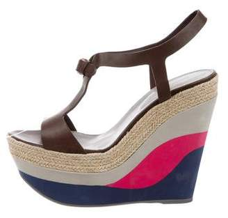 Sergio Rossi Jute Trim Leather Wedges