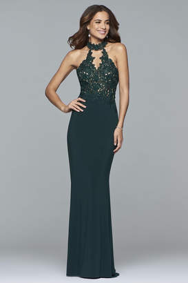 Faviana Jersey Halter Evening Dress