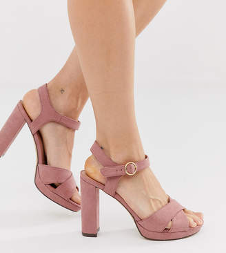 New Look faux suede platform heeled sandals in pink