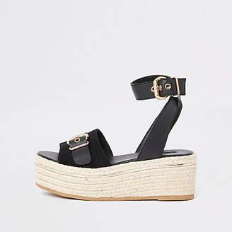River Island Black espadrille wide fit flatform sandals