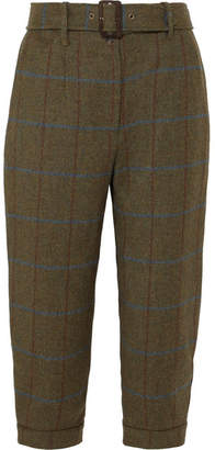 James Purdey & Sons - Cropped Checked Wool-tweed Tapered Pants - Army green