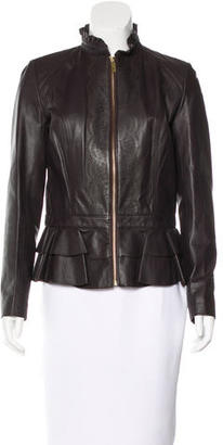 Alice by Temperley Ruffle-Trimmed Leather Jacket $195 thestylecure.com