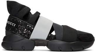 Emilio Pucci Black & Grey 'Pucci at Night' Glitter Ruffle Elastic Slip-On Sneakers