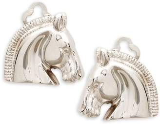 Hermes Vintage Silvertone Horse Head Clip Earrings