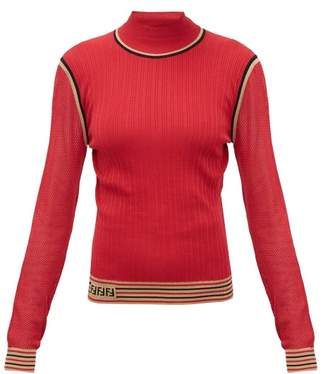 Fendi Mesh Sleeve Logo Intarsia Silk Sweater - Womens - Red Multi