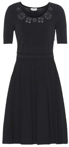 Fendi Leather-trimmed knitted dress