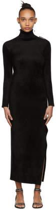 Balenciaga Black Velvet Turtleneck Fitted Dress
