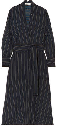 Vince Belted Striped Crepe De Chine Midi Dress - Black